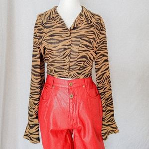 Leopard animal print long sleeve button up blouse